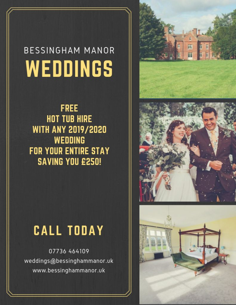 Wedding special offer at Bessingham Manor Norfolk.